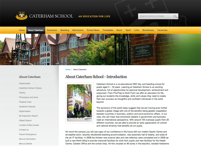 Caterham School website